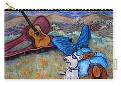 Carry-all Pouch featuring the painting Guitar Doggy And Me In Wine Country by Xueling Zou