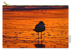 Gull Caught At Sunrise Carry-all Pouch by Allan Levin
