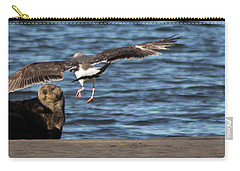 Carry-all Pouch featuring the photograph Gull With Sea Otter Photobomb by Lora Lee Chapman