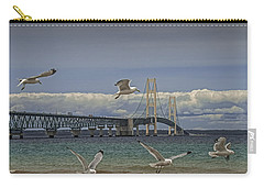 Gulls Flying By The Bridge At The Straits Of Mackinac Carry-all Pouch
