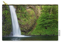 Carry-all Pouch featuring the photograph Gushing Horsetail Falls by Greg Nyquist