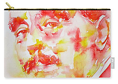 Carry-all Pouch featuring the painting H. G. Wells - Watercolor Portrait by Fabrizio Cassetta