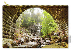 Carry-all Pouch featuring the photograph Hadlock Falls Under Carriage Road Arch by Jeff Folger