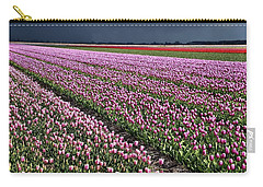 Half Side Purple Tulip Field Carry-all Pouch by Mihaela Pater