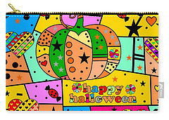 Carry-all Pouch featuring the digital art Halloween Popart By Nico Bielow by Nico Bielow