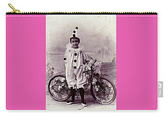 Halloween Pierrot Boy With Antique Bicycle Circa 1890 Carry-all Pouch by Peter Gumaer Ogden