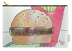 Hamburger With Fries Carry-all Pouch by Loretta Nash