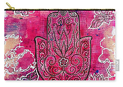 Carry-all Pouch featuring the mixed media Hamsa by Julie Hoyle