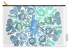 Carry-all Pouch featuring the mixed media Hamsa Mandala 1- Art By Linda Woods by Linda Woods