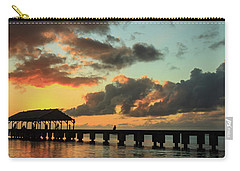 Hanalei Pier Sunset Panorama Carry-all Pouch by James Eddy