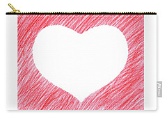 Hand-drawn Red Heart Shape Carry-all Pouch by GoodMood Art