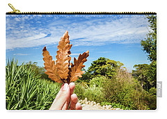 Hand Holding A Beautiful Oak Leaf Carry-all Pouch