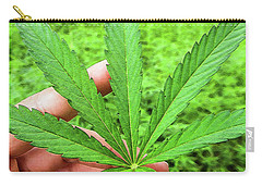 Hand Holding A Hemp Leaf Carry-all Pouch
