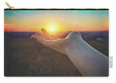 Carry-all Pouch featuring the photograph Hand Holding Sun - Sunset At Lapham Peak - Wisconsin by Jennifer Rondinelli Reilly - Fine Art Photography