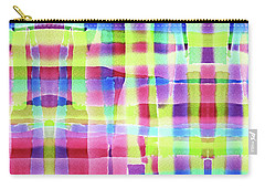 Hand-painted Abstract Gingham Weave Neon Rainbow Carry-all Pouch