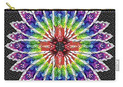 Carry-all Pouch featuring the mixed media Hand Totem Mandala by Kym Nicolas
