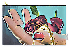 Hand With Red Rose And Pearls Carry-all Pouch