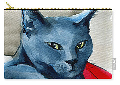 Handsome Russian Blue Cat Carry-all Pouch