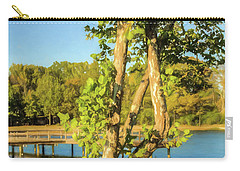 Hanging On - Lakeside Landscape Carry-all Pouch by Barry Jones