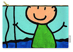 Happi Arte 2 - Boy Fish Art Carry-all Pouch by Sharon Cummings