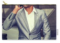 Happy African American Businessman Working In New York 15082323 Carry-all Pouch