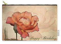 Happy Birthday Peach Rose Card Carry-all Pouch