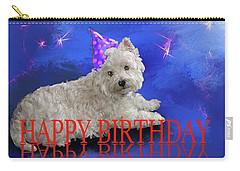 Happy Birthday Westie Carry-all Pouch by Debra Baldwin