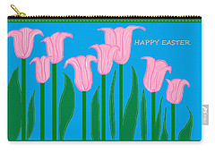 Happy Easter 1 Carry-all Pouch by Linda Velasquez