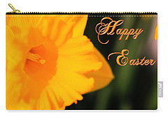 Carry-all Pouch featuring the photograph Happy Easter Yellow Daffodil Spring Flowers by Shelley Neff