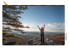 Happy Female Hiker At The Summit Of An Appalachian Mountain Carry-all Pouch