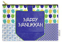 Happy Hanukkah Dreidel 2- Art By Linda Woods Carry-all Pouch