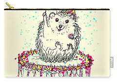 Happy Hedgehog Birthday Carry-all Pouch by Denise Fulmer
