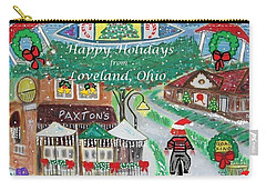 Carry-all Pouch featuring the painting Happy Holidays From Loveland, Ohio by Diane Pape