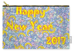 Carry-all Pouch featuring the digital art Happy New Year 2017 by Jean Bernard Roussilhe