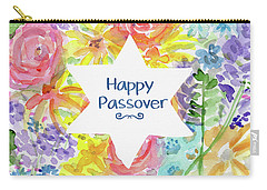 Carry-all Pouch featuring the mixed media Happy Passover Floral- Art By Linda Woods by Linda Woods