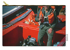 Carry-all Pouch featuring the photograph Happy Sailor In Orange Lifeboat by Samuel M Purvis III