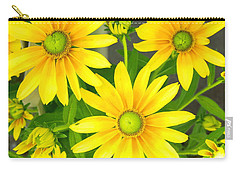 Happy Yellow Summer Cone Flowers In The Garden Carry-all Pouch