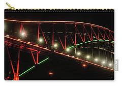 Carry-all Pouch featuring the photograph Harbor Bridge Green And Red By Kaye Menner by Kaye Menner