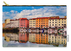 Harbor Reflections In Panoramic Carry-all Pouch by Sue Melvin