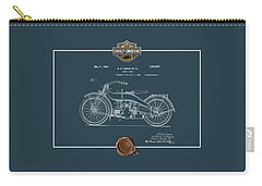 Carry-all Pouch featuring the digital art Harley-davidson 1924 Vintage Patent Blueprint  by Serge Averbukh