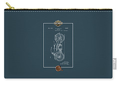 Carry-all Pouch featuring the digital art Harley-davidson 1924 Vintage Patent Blueprint With 3d Badge by Serge Averbukh