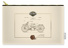 Carry-all Pouch featuring the digital art Harley-davidson 1924 Vintage Patent Document  by Serge Averbukh
