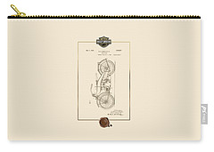 Carry-all Pouch featuring the digital art Harley-davidson 1924 Vintage Patent Document With 3d Badge by Serge Averbukh