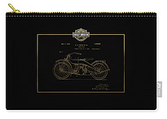 Carry-all Pouch featuring the digital art Harley-davidson 1924 Vintage Patent In Gold On Black by Serge Averbukh
