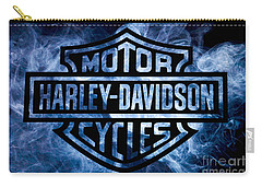 Harley Davidson Logo Blue Carry-all Pouch by Randy Steele