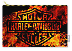 Harley Davidson Logo Flames Carry-all Pouch by Randy Steele