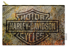 Harley Davidson Logo Grunge Metal Carry-all Pouch by Randy Steele