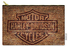 Harley Davidson Logo Red Brick Wall Carry-all Pouch by Randy Steele
