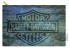 Harley Davidson Logo Weathered Wood Carry-all Pouch by Randy Steele