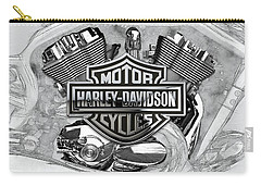 Carry-all Pouch featuring the digital art Harley-davidson Motorcycle Engine Detail With 3d Badge  by Serge Averbukh